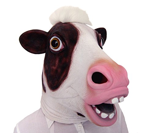 [LUBBER Halloween Costume Cow Latex Animal Head Mask Pink] (Kids Cow Nose)