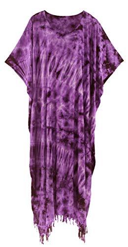 (Beautybatik Purple Tie Dye Caftan Kaftan Loungewear Maxi Long Dress 4X)