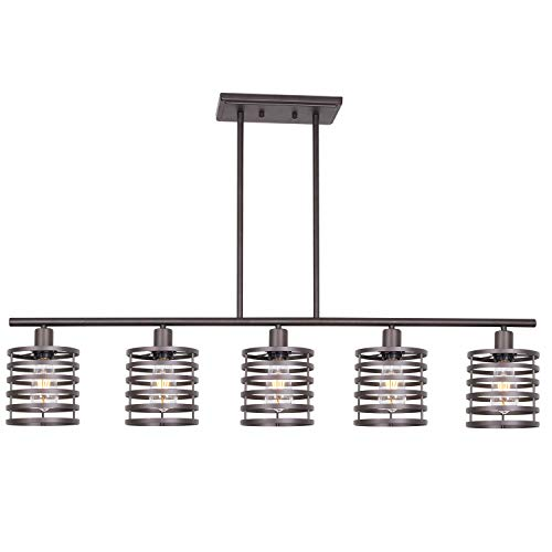VINLUZ 5 Light Contemporary Linear Chandelier Oil Rubbed Bronze Metal Cage Table Light Kitchen Island Pendant Lighting Rustic Farmhouse Ceiling Light Fixtures Hanging Liviing Room Dining Room