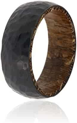 Black Zirconium Ring With Leopard Wood Sleeve And Premium Hammered Finish 8mm Wide Ring - USA Made Custom Jewelry And Bands