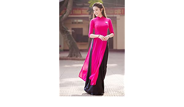 Ao Dai - Traditional Viet Nam Vietnamese Long Dress Collections With Pants - Silk Thai Tuan - Custom- All Sizes at Amazon Womens Clothing store: