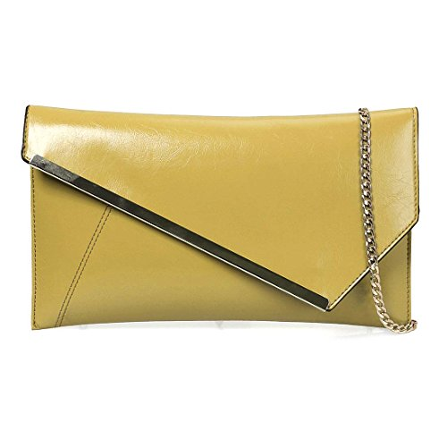 Faux Style Taxi BMC Yellow Accent Gold Metal Fashionable Clutch Cab Statement Leather Envelope 0r07X5vn
