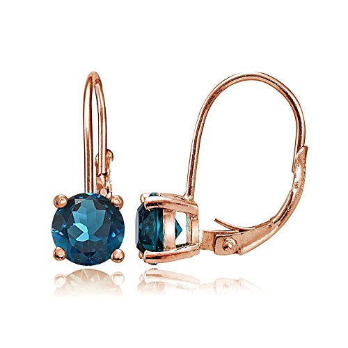 Rose Gold Flashed Sterling Silver London Blue Topaz 6mm Round Leverback Earrings (Rose Gold London Blue Topaz)