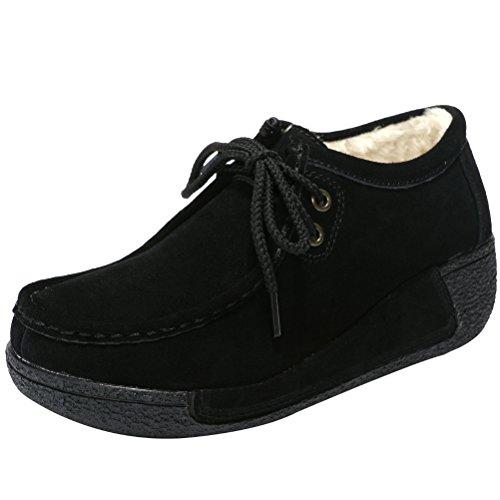 Mordenmiss Women's Winter Wedge Heel Sneaker Espadrille Creeper Loafers Platform Shoes