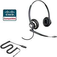 Cisco Compatible Plantronics EncorePro 720 HW720 Noise Canceling Direct Connect VoIP Headset Bundle Cisco 69xx, 78xx, 79xx, 89xx, 99xx Series Phone