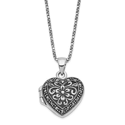 - 925 Sterling Silver Marcasite Heart Locket Chain Necklace Pendant Charm W/chain S/love Fine Jewelry For Women Gift Set