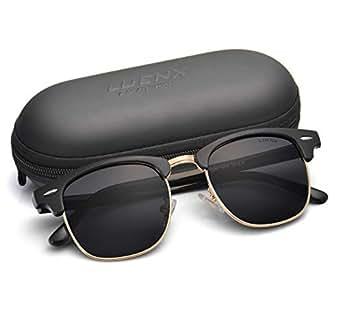 LUENX Men Clubmaster Polarized Sunglasses Women UV 400 Protection Black Lens Black Glossy Retro Classic Frame 51MM ,by LUENX with Case