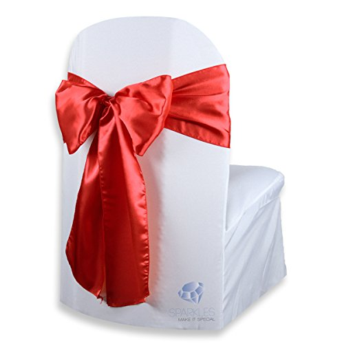 (Sparkles Make It Special 50 pcs Satin Chair Cover Bow Sash - Red - Wedding Party Banquet Reception - 28 Colors Available)