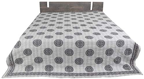 100/%Cotton Indian Handmade Ralli Kantha Quilt Bedspread Throw Coverlet Twin Size