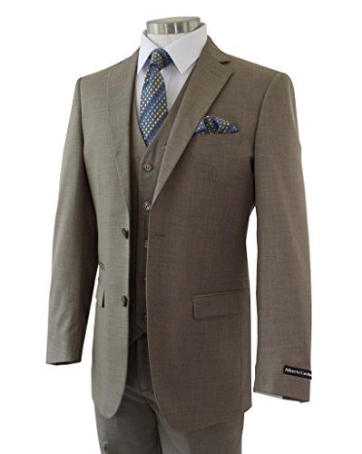 Alberto Cardinali Men's Sharkskin 3-Piece 2 Button Slim-Fit Suit w/ Matching Vest [Color: Taupe | Size: 44 Long / 38 Waist] (Mens Button Suit 3 Taupe)