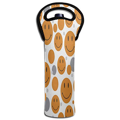 Wine Bag Pattern Smiley Face 1 Bottle Red Wine Tote Bag Protective Single Champagne Handle Bag