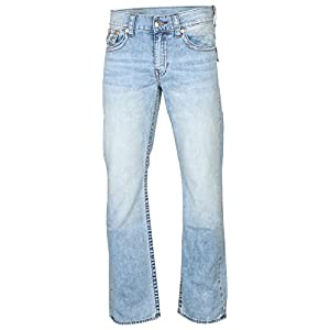 True Religion Men's Straight Leg Relaxed Fit Red Orange Stitch Acid Wash Jeans w/Flaps in Country Sky Clean