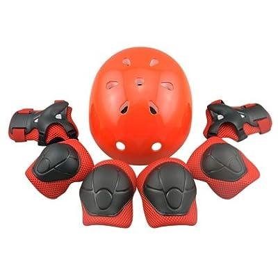 Tourwin Coude poignet Genouillères et casque de sécurité sport équipement de protection Guard pour enfant Skateboard patinage Cyclisme d'équitation Blading [7pcs Définit]