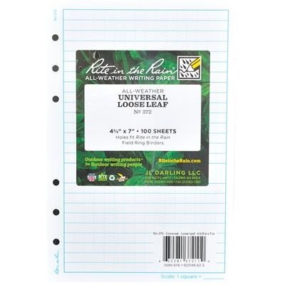 Rite in the Rain Loose-Leaf Sheets, Universal Grid, 4 5/8'' x 7'', Pkg. of 100 By Tabletop King by Tabletop King