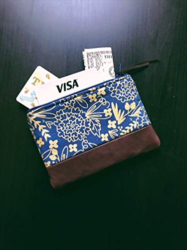Leather Coin Purse Floral Blue, Small Leather Pouch, Change Purse, Small Wallet by 144 Collection