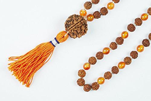 Mogul Mala de los granos interiores 108 + 1 Rudraksha cornalina Kundalini Yoga Malabeads