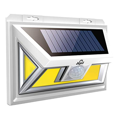 Beam Bright Super (JUSLIT Solar Lights Outdoor, Super Bright with 74 COB Light Source LEDs, Motion Sensor Light, 2 Modes Wireless Solar Powered Wall Light with 270° Wide Angle, IP65 Waterproof Security(1PK))