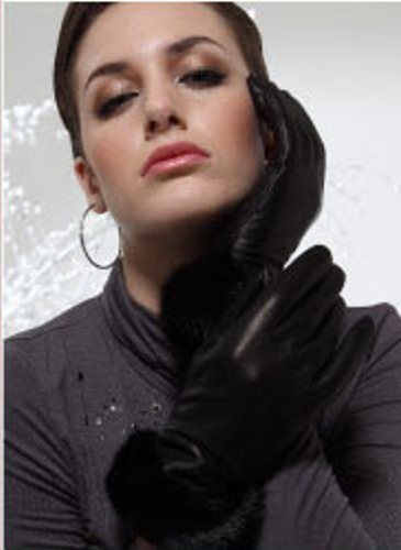 PURE LEATHER GLOVES TRIMMED WITH REAL MINK FUR AND LINED WITH MICROFIBER (LARGE, COFFEE BROWN) by Cashmere Pashmina Group