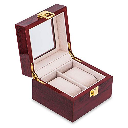 OTraki Watch Boxes 2 Slot Womens Mens Wood Watches Case Organizer with Glass Display Top Metal Buckle Jewelry Decorative Wristwatch Storage Holder Boxes with Removable Pads Red ()