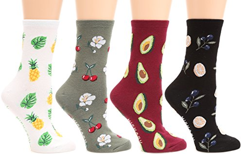 MIRMARU Women's 4 Pairs Famous Painting Art Printed Funny Novelty Casual Cotton Crew Socks. (W-L-148)