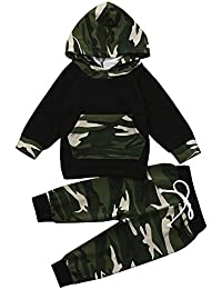 Clearance! Toddler Baby Infant Boy Girl Camo Hoodie Set Long Sleeve Tops+Pants Outfits Clothes