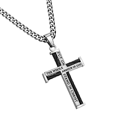 Armor Of God Cable Cross Black & Silver Pendant Necklace With Verse In Gift Bag (20, stainless-steel)