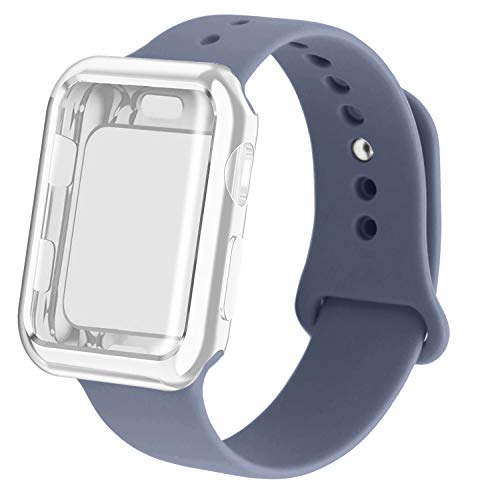 (RUOQINI Smartwatch Band with Case Compatiable for Apple Watch Band, Silicone Sport Band and TPU Case for Series 4/3/2/1,Lavender Gray Band with Clear Case in 38SM)