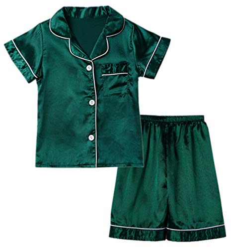Little & Big Boys Girls Kids Satin Pajamas Set 2 Pieces PJS Short Sleeve Button-Down Top + Shorts Sleepwear Loungewear, Green, 4-5 Years = Tag ()