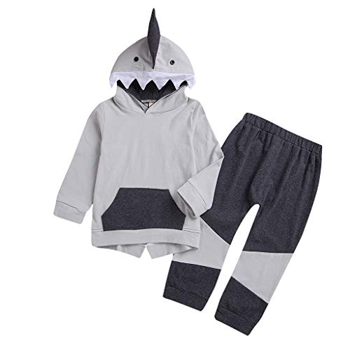 residentD Toddler Baby Boys Tracksuits, Shark Hooded Tops Sweater+ Pants Leggings Outfit Set Spring (6M-5T) Gray
