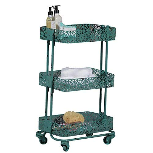 Linon 3-Tier Cart Metal, Turquoise by Linon (Image #2)