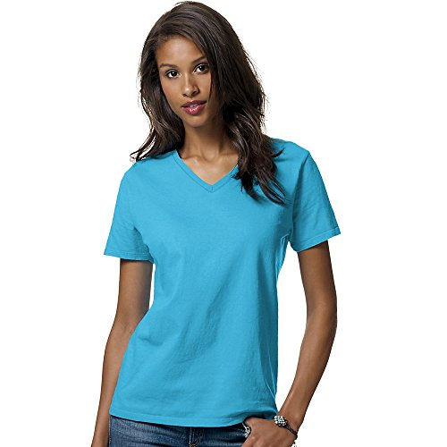 Hanes Women's Relax Fit Jersey V-Neck Tee 5.2 oz (Pack of 1) Size:X-Large Color:Aquatic Blue