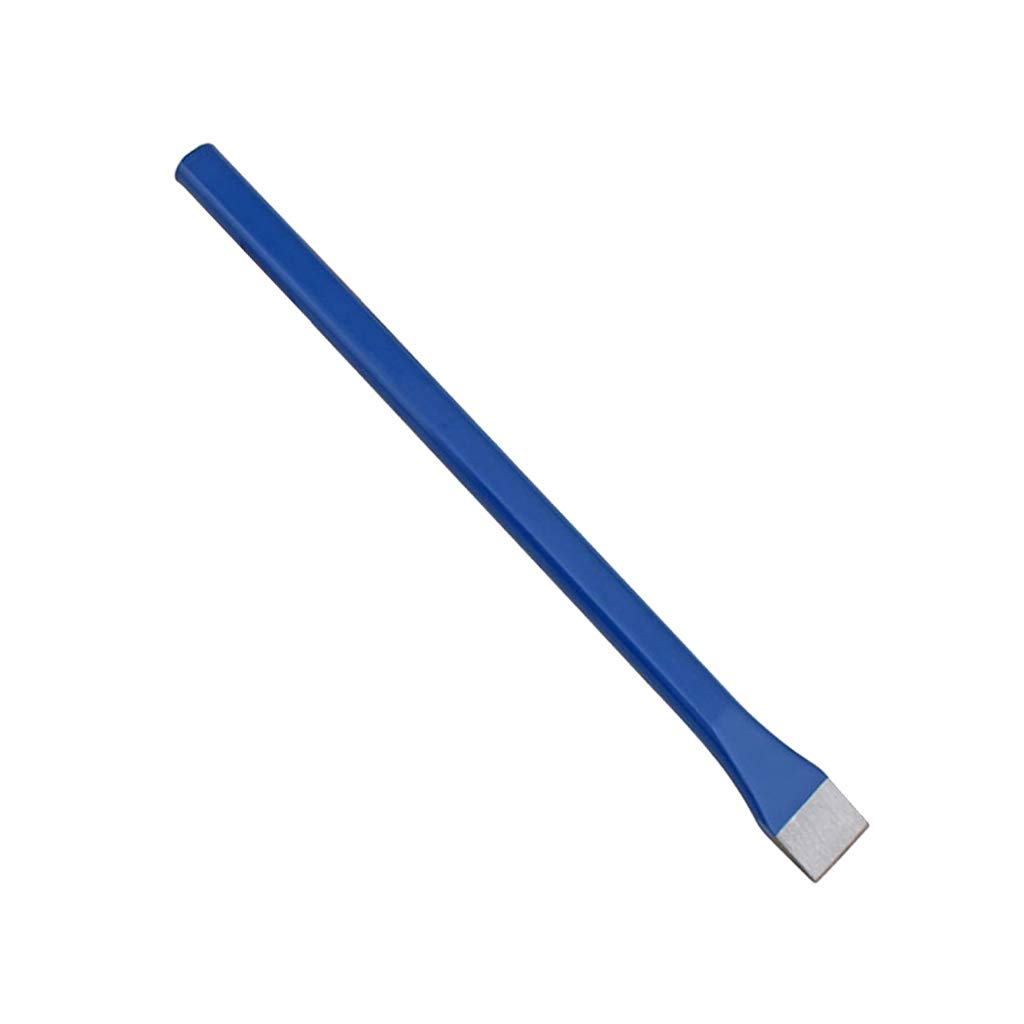 D DOLITY Stone Brickwork Pitching Chisel, with Powerful Hardness Flat Head, Hand Tool for Carving Masonry Brickwork Concrete Stone Metal - Blue, Flat Type with Handle