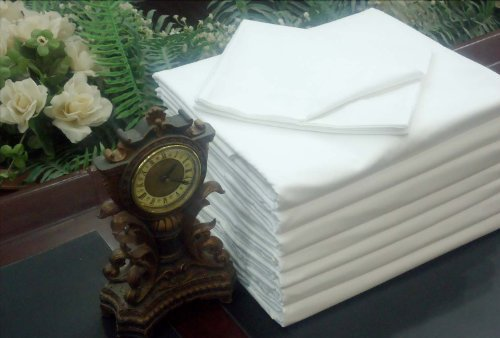 1 Dz or 12 Twin Flat White Sheet T-180 Percale Hotel Linen (Available in Bulk/dozens) by OMNI LINENS