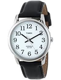 Timex Men's T20501 Easy Reader Silver-Tone Black Leather Watch