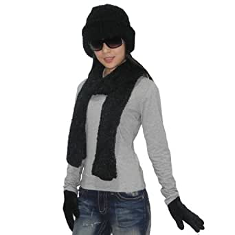 3 PIECE SET: Womens Cosy Fluffy Thermal Winter Scarf, Hat