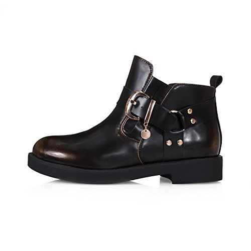 Slip With Boots Toe Sole and Black AmoonyFashion Closed Heels Heels Low Rough Toe Round Womens Resistance 8Rvx0a