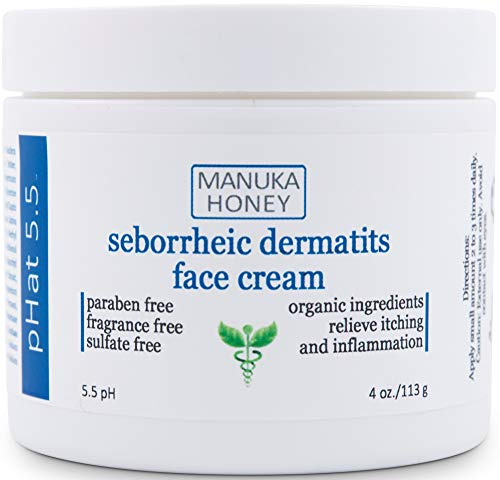 Seborrheic Dermatitis Cream with Manuka Honey, Coconut Oil and Aloe Vera - Moisturizing Face and Body Anti Itch Cream and Skin Treatment for Sensitive Skin - Natural & Organic Cream (4 oz)