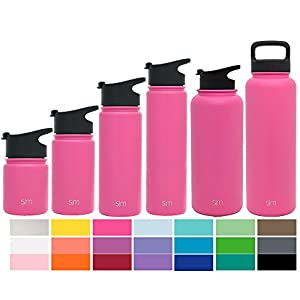 Simple Modern 14oz Summit Water Bottle + Extra Lid - Vacuum Insulated Stainless Steel Wide Mouth Hydro Travel Mug - Kids Double Wall Small Flask - Cotton Candy Pink