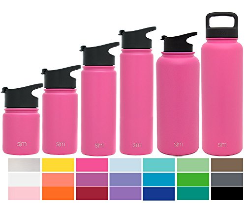 Coffee Flask (Simple Modern 14 oz Summit Water Bottle - Stainless Steel Hydro Kids Flask +2 Lids - Wide Mouth Double Wall Vacuum Insulated Reusable Pink Small Metal Coffee Spill Proof Thermos - Cotton Candy)