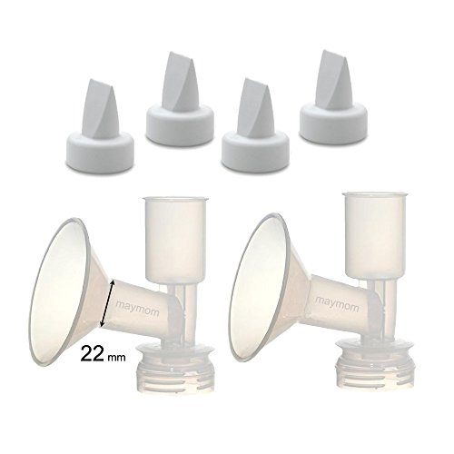 (Maymom Non-Insert, One-Piece Small Flange Kit Compatible W/Ameda Purely Yours, Ultra Breastpump (Flange 22 mm), with Duckbill; Not Original Ameda Flange or Duckbill)