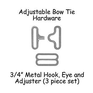 "Adjustable Bow Tie Hardware Clips - 3/4"" Silver Metal - 10 Sets"