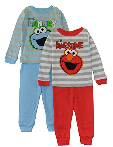 Sesame Street Boys' Toddler Two Cool Buddies 4-Piece Cotton Pajama Set, Blue/Gray 3T by Sesame Street (Image #1)