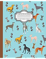 Composition Notebook: Greyhound Composition Notebook for Kids, Cute High Impact Cover Art, Record Keeping Book, Diary, Journal, Ledger, and Log Book, Bounded Wide Ruled, 7.5 x 9.25, Greyhound Themed Gifts