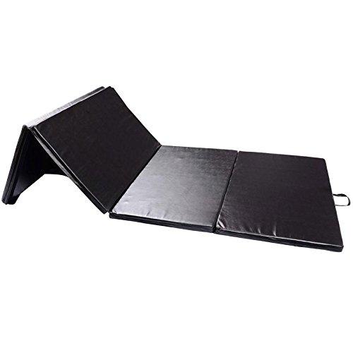 Festnight PU Leather Folding Gymnastics Mat Black for Tumbling Martial Arts Aerobics Yoga 4′ x 10′ x 2″