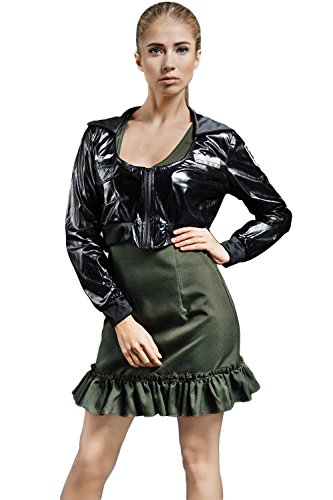 Adult Women Pilot Fly Girl Military Air Force Captain Costume Role Play Dress Up (X-Small/Small, Olive Green, Black) - Dance Academy Costumes