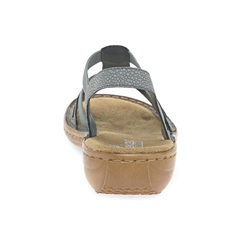Les Femmes Rieker 608s1 Sandales À Talons Compensés Gris