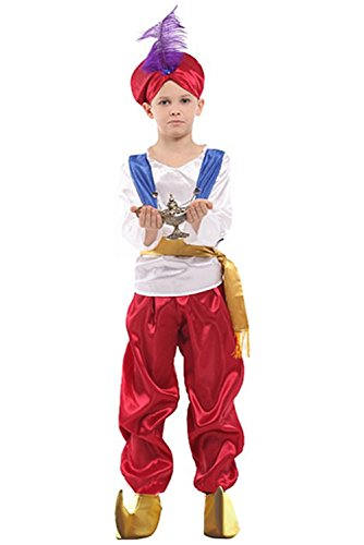 Newhui Kids' Halloween Aladdin Suit Hat Boy's Arabian Prince Costume