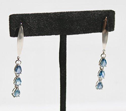 (Natural untreated light blue sapphire earrings in Sterling silver earrings )