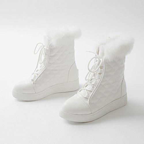 YE Damen Flache Ankle Boots Gefütterte Plateau Stiefeletten mit Schnürung und Fell Bequem Warm Schuhe Weiß