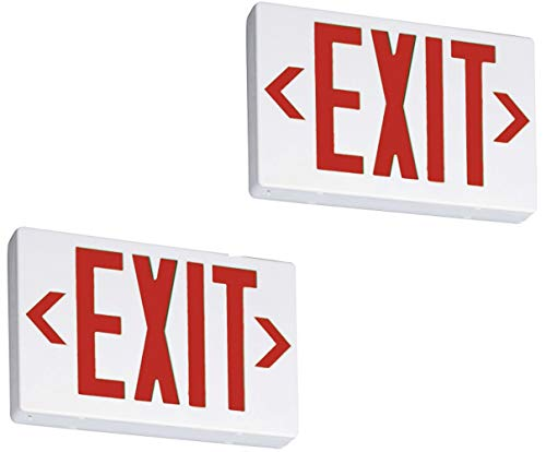 Kaito GX200NR-2P AC 120V/277V Lighted LED Red Emergency Exit Sign with Battery Back-up, 2-Pack, UL Listed ()